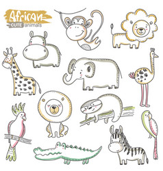 set cartoon african animals colorful vector image