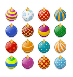 set of isometric color christmas balls on a vector image