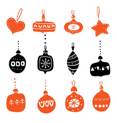 set silhouettes christmas tree glass toys vector image