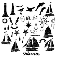 Set with nautical silhouettes vector image