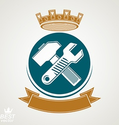 Simple wrench and hammer crossed Graphic vector image