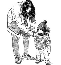 sketch a mother with her kid vector image