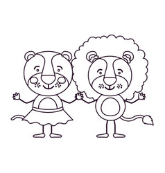 Sketch contour caricature with couple of lioness vector