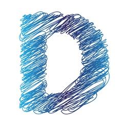 Sketched letter d vector