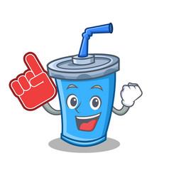 Soda drink character cartoon with foam finger vector