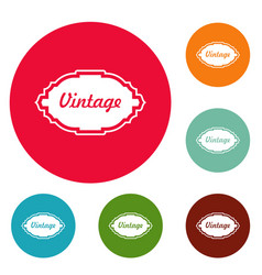 style label icons circle set vector image