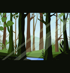 sunset in the woods vector image