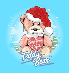 teddy bear santa claus with christmas hat vector image