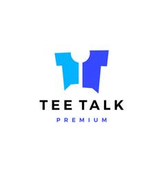 Tee talk t shirt chat balloon logo icon vector