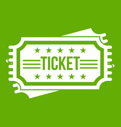 ticket icon green vector image