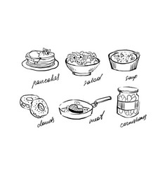 traditional food set pancakes salad soup vector image