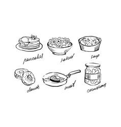 traditional food set pancakes salad soup vector image