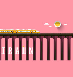 train on high bridge with sunset sky vector image
