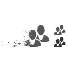 users broken pixel halftone icon vector image