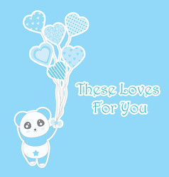 valentines day with cute blue panda bring heart vector image