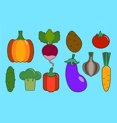 vegetables flat icons set colorful flat design vector image