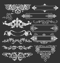 Vintage floral decorative border elements vector image