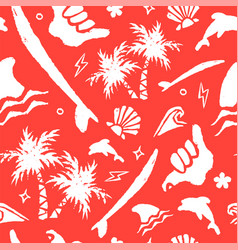 vintage surf summer hand drawn seamless pattern vector image
