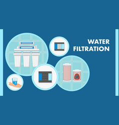 Water filtration color web banner with text vector