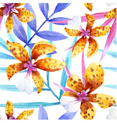 Watercolor orchid flowers tropical pattern vector