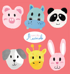 Watercolour cute animal faces vector