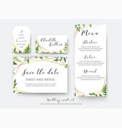 Wedding floral save date menu place card vector