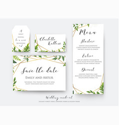Wedding floral save the date menu place card vector