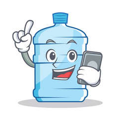 With phone gallon character cartoon style vector