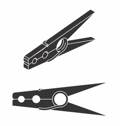 wood clothespin classic black fill vector image