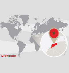 World map with magnified morocco vector