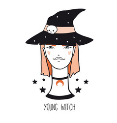 young pretty red hair cartoon witch vector image