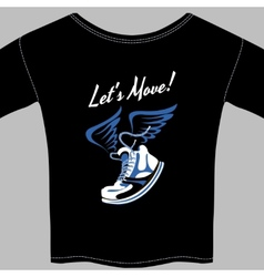 Black T-shirt printed with a winged sneaker vector image vector image