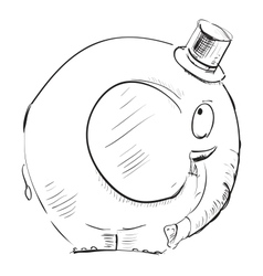 Cartoon elephant in top-hat vector image vector image