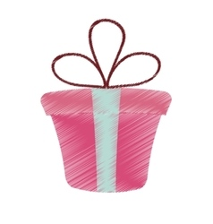 drawing pink gift box present ribbon valentine day vector image