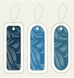Floral blue tags for template vector image