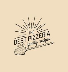 pizza logo family pizzeria emblem icon vector image