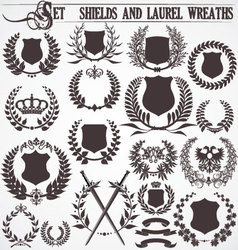 set - shields and laurel wreaths vector image