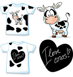 shirt with cute black and white cow - vector image