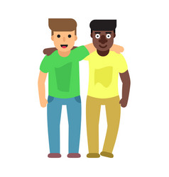 adult guys two best friends friendship flat vector image
