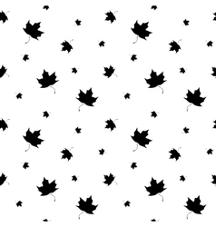 Black and white leaf maple seamless pattern vector image
