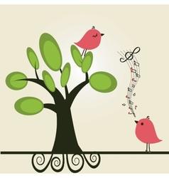 cute floral spring birds vector image vector image