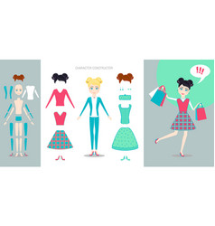 girl character creation set cartoon flat vector image vector image