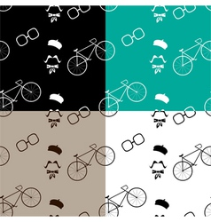 hipster with modern bike pattern vector image