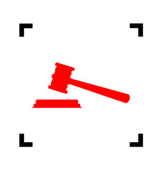 justice hammer sign red icon inside black vector image