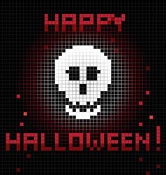 pixel halloween skull vector image