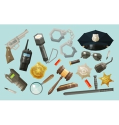 police security icons set collection of elements vector image