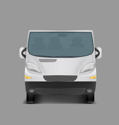 realistic white minivan city minibus vector image