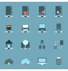Server Hosting Icons Flat vector image vector image