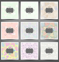 set colored vintage backgrounds of hearts and vector image vector image