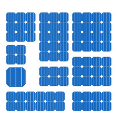 blue solar cell panel set on white background vector image vector image